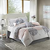 Home Essence Springfield Lightweight All Season Goose Down Alternative Fill Floral Comforter Set All Season Bedding, Matching Bedskirt, Decorative Pillow Coral,, King, 7 Piece
