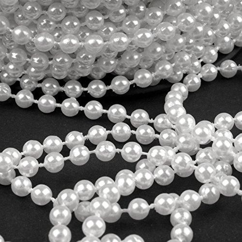 Schnoschi 2m Perlen weiß 5mm Perlenband Perlenkette Perlengirlande Perlenschnur Weihnachten Advent Hochzeit Deko Tischdeko Meterware