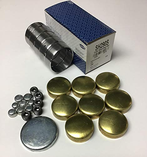 Cam Bearings & Brass Freeze Plug Set compatible with 1968-2003 Chevy sb 283 267 265 262 350 327 307 305 (Brass Block Plugs)