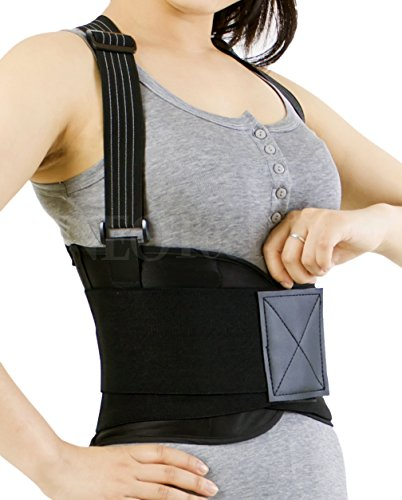 Back Brace with Suspenders for Women - Adjustable - Removable Shoulder Straps - Lumbar Support Belt - Lower Back Pain, Work, Lifting, Exercise, Gym - Black - Size S, M, L, XL, XXL