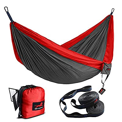 "HONEST OUTFITTERS Single Camping Hammock with Basic Hammock Tree Straps,Portable Parachute Nylon Hammock for Backpacking Travel Red/Charcoal 55"" W x 108"" L"