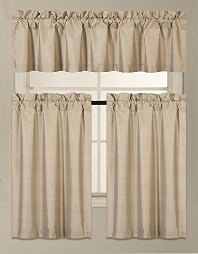Fancy Collection 3 Pieces Faux Silk Blackout Kitchen Curtain Set Tier Curtains and Valance Set Solid Taupe Window Set Thermal Backing Drapes New