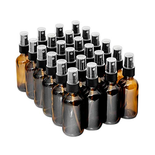 7 Colors Available - The Bottle Depot Bulk 24 Pack 2 oz Amber Glass Bottles With Spray; Wholesale Quantity for Essential Oils, Serums with Pretty Amber Finish to Protect and Preserve Quality