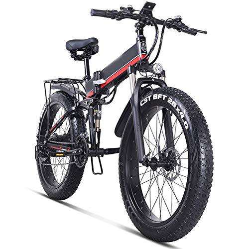 LZMXMYS Bicicleta eléctrica, 21 Velocidades Frenos crucero de la playa for hombre de los deportes de montaña bici de la batería de litio de disco hidráulicos Montaña bicicleta eléctrica 48v 1000w de 2