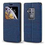 Motorola Moto One Zoom Hülle, Holzmaserung Leder Hülle mit Kartenhalter & Sichtfenster, magnetische Flip Cover für Motorola One Pro