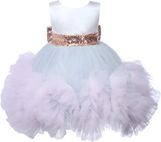 Baby Girl Dress Sleeveless Layered Sequin Bow Baptism Christening Gown Pageant Dress