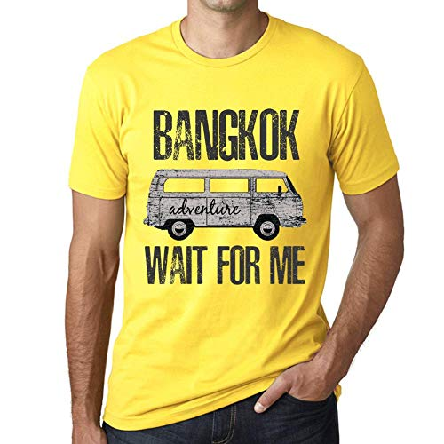 One in the City Hombre Camiseta Vintage T-Shirt Gráfico Bangkok Wait For Me Amarillo