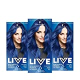 Schwarzkopf LIVE Ultra Bright or Pastel Blue Hair Dye, Pack of 3, Semi-Permanent Colour lasts up to...
