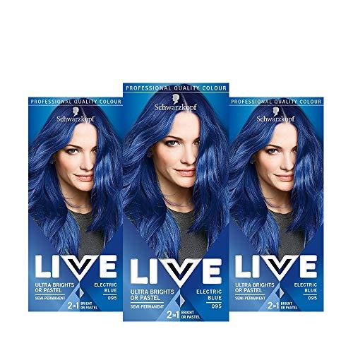 Schwarzkopf Live Ultra Bright oder Pastel Blue Hair Dye 3er Pack semi-permanente Farbe hält für 15 Wäschen, 095 Electric Blue