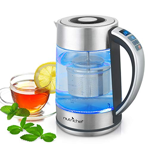 Digital Hot Water Glass Kettle - 1.7L Portable Easy Pour Teapot Boiler - Electric Coffee Brewer Tea Heater with Stainless Steel Inner Pot, Filter, Adjustable Temperature Control - NutriChef