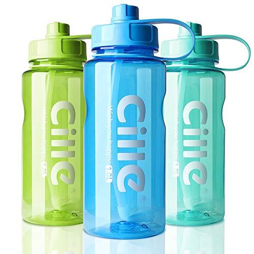 AOHAN Trinkflasche 1L Wasserflasche Sportflasche für Fitness, Wandern, Camping, Outdoor-Sportarten Flaschen aus BPA frei, Auslaufsicher, Nachhaltig (1000ml, B-Blau)