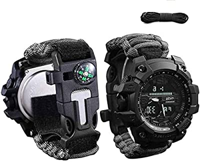 wejie Survival Bracelet Watch, 6-in-1 Waterproof Emergency Survival Watches Men & Women Digital Outdoor Sports Watch, with Paracord, Whistle, Fire Starter, Scraper, Compass and Survival Gear