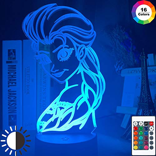 3D Illusion Lampled Night lighttable lamp with Color Changing Touch Sensor with Queen Elsa of Arendelle Figure