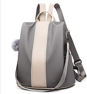 LKLXZD Women Backpack Handbag Nylon Shoulder Bag Antitheft Rucksack Lightweight Waterproof School Shoulder Bag Anti Theft Multi-Purpose,Fashion,Leisure,Travel,Casual (Color : Silver)