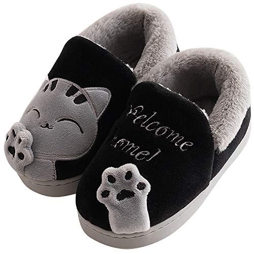 Acfoda Winter Plush Slippers with Cartoon Cat for Unisex Adult Children Size 21-44 Black Size: 8.5/9 UK