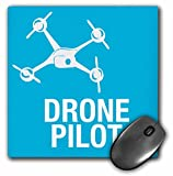 3dRose Blue Drone with UAV Pilot Mouse Pad, 8' x 8' (mp_179914_1)