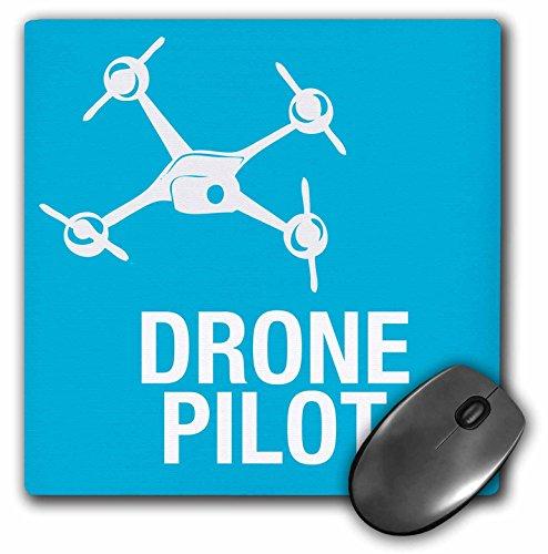 3dRose Blue Drone with UAV Pilot Mouse Pad, 8' x 8' (mp_179914_1)