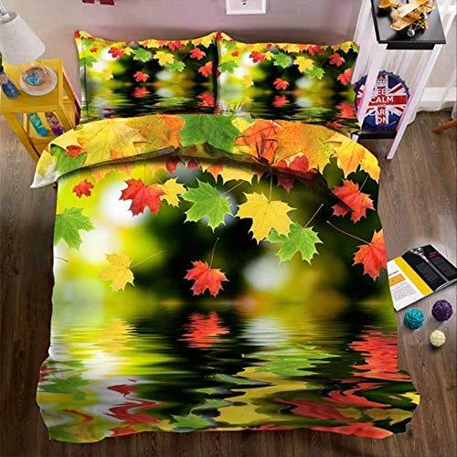 Double Duvet Set, 3D Printing Water Rose Duvet Cover And Pillowcase Home Textiles Summer Bed Linen 3 Pcs Set