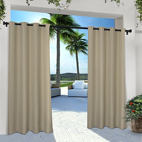 Exclusive Home Curtains Indoor/Outdoor Solid Cabana Grommet Top Curtain Panel Pair, 54x96, Taupe, 2 Piece