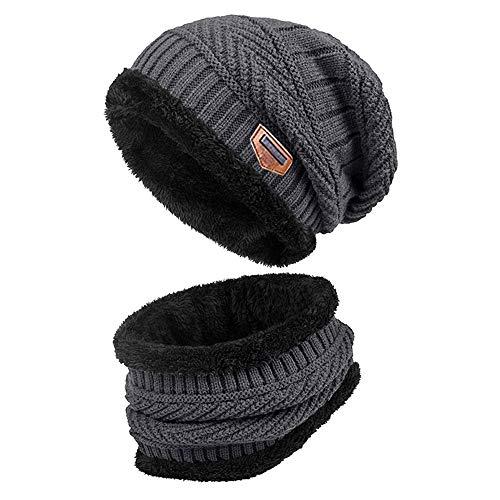 YLPNR Wintermütze Strickmütze Warme Beanie Winter Mütze und Schal mit Fleecefutter für Damen und Herren (Grau)