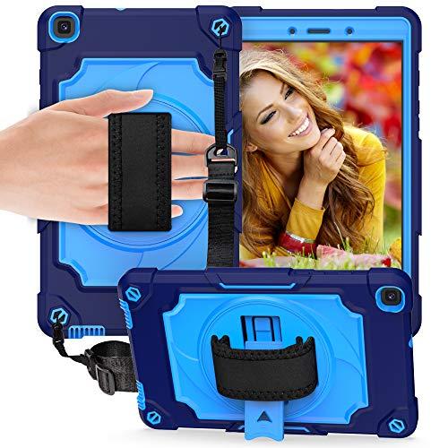 QYiD Funda para Galaxy Tab A 10.1' 2019 (SM-T510/SM-T515), Carcasa Resistente Silicona con Bandolera, Soporte, Correa de Mano para Galaxy Tab A Tablet 10.1' 2019, Azul Marino/Azul