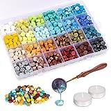 Siegelwachs Perlen Set, XiYee 600 Stück Achteckig Siegelwachs Perlen, 24 Farben Siegelwachsperlen...
