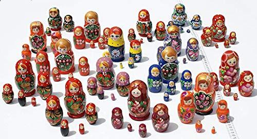 Lot 3 Sets de 5 poupées Russe en Bois matriochka Originaux Faits Main avec la Peinture de Fleurs Art Ethnique Russe