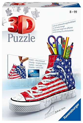 Ravensburger American Flag Trainer 108 piece 3D Jigsaw Puzzle for Kids age 8 years and up. An ideal Desk tidy or Pencil pot