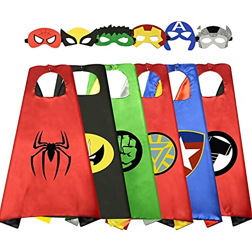 WIKI Birthday Presents Gifts for 3-10 Year Old Boys Girls, Cool Cartoon Superhero Satin Capes Dress up for Kids Party Favor Toys for 3-10 Year Old Costume Cosplay Festival Party Supplies