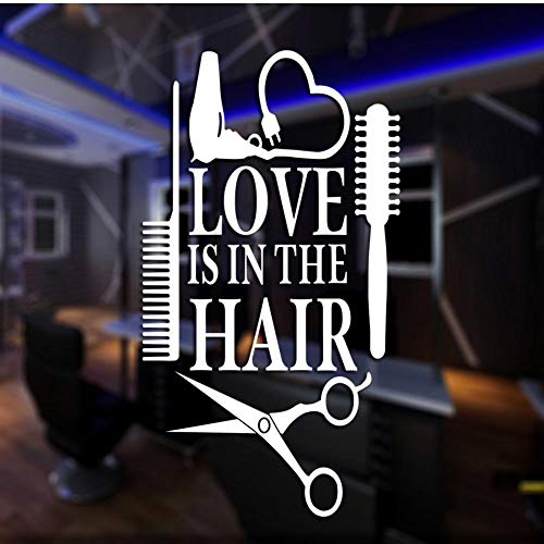 MRQXDP Barber Shop Sticker op maat Decal Posters Vinyl Wall Art Decor Ramen Decoratie Haircut Shavers Glass Decals 58x104cm Muursticker