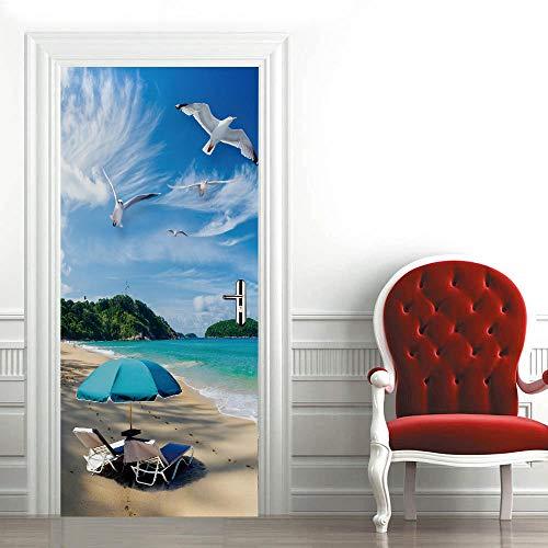 Mural para Puerta Gaviota De Playa De Cielo Azul 3D Papel Pintado Puerta Autoadhesivo Vinilos Pegatinas De Pared Diy Decoraciones para Puerta Sala De Baño Estar Dormitorio 95X215Cm