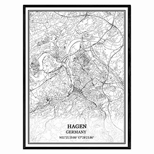 Hagen Deutschland Karte Wandkunst Leinwand drucken Poster Artwork ungerahmt moderne Schwarz-Weiß-Karte Souvenir Geschenk Home Decor