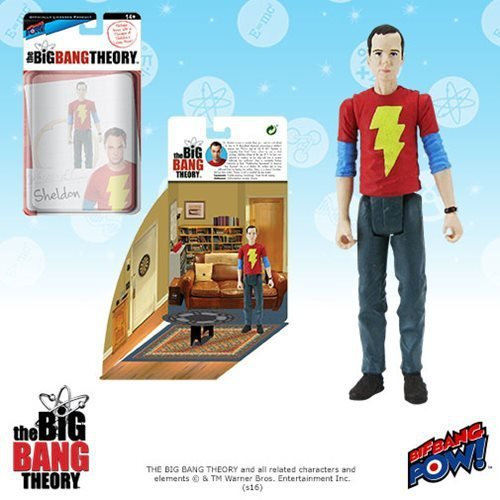 The Big Bang Theory Action Figures with Diorama Set Sheldon Shazam Shirt 10 cm