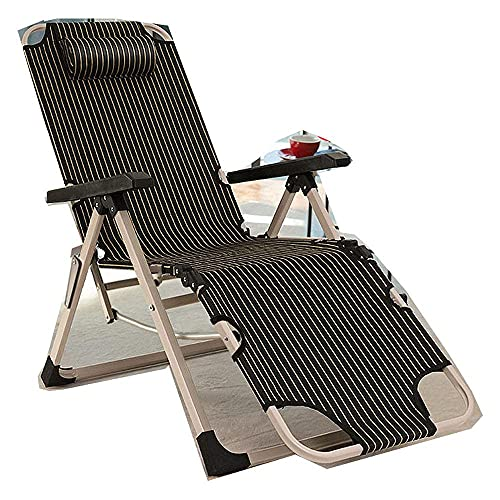 WGFGXQ Garden Lounger,Outdoor Lounge Chair, Balcony Leisure Chair Adult Folding Siestas Leisure Chair Outdoor Garden Furniture-Ash Stripes
