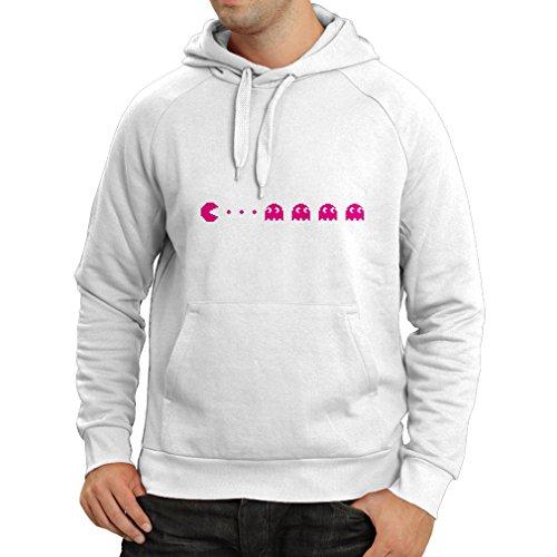lepni.me Sweatshirt à Capuche Manches Longues Cadeau rétro de Joueur, Amateur de Jeux vidéo Classique (XXX-Large Blanc Magenta)
