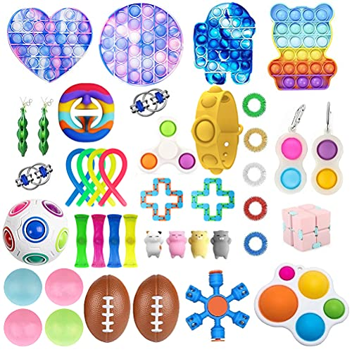 Fidget Toy Packs, 41 Piezas Juguetes Sensoriales Fidget Baratos, Juguetes de Mano Anti Ansiedad para Apretar, Stress Ball y Anti Stress Relief Toy Stress Ball para Niños Adultos Regalos de Fie