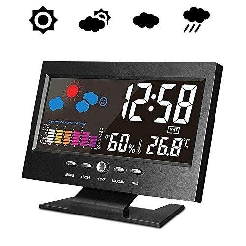 Keyohome - Estación meteorológica inalámbrica con sensor exterior, termómetro higrómetro interior exterior digital, temperatura humedad barómetro con pantalla LCD, alerta y calendario, estilo A