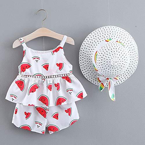 Meisjes Zomer Kleding Sets, voor 0-3 jaar oud, 3 stuks van de Peuter van de baby Katoen en linnen Cute Print Top Rok + Shorts Kleding Set met Hoed
