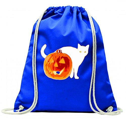 Druckerlebnis24 Turnbeutel Halloween- Tier- Katze- Jack O Laterne- KÜRBIS- GRUSELIG mit Kordel - 100% Baumwolle- Gymbag- Rucksack- Sportbeutel