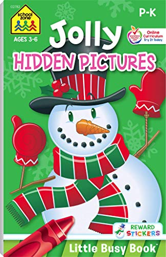 School Zone - Jolly Hidden Pictures Workbook - Ages 3 to 6, Preschool to Kindergarten, Holiday, Christmas, Picture Puzzles, Search & Find, Stickers, ... Series) (Jolly Workbooks Little Busy Book)