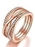 Presentski 925 Sterling Silber Rose Gold Zirkonia Ring für Frauen Damen Mädchen, Ringgröße 52