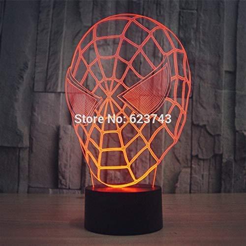 Kleur Veranderende 3D Spider Man Masker Acryl LED Nachtlampje met USB Power Multi kleuren Tafellamp van 3D LEDs A-985