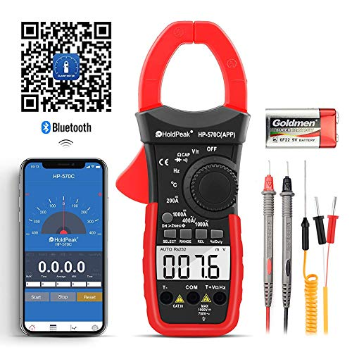 HOLDPEAK HP-570C-APP Digital Clamp Multimeter Connect with APP via Bluetooth, Amp Ohm Tester,4000 Counts AC/DC Voltage AC/DC Current,Resistance,Diode Test,Temperature,Capacitance Tester