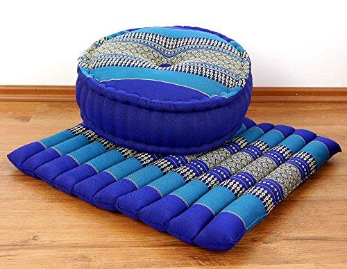 livasia Yogaset/Meditationsset der Marke Asia Wohnstudio: 1 x Zafukissen (Yogakissen) + 1 x Sitzkissen (Meditationskissen) mit Reiner Kapokfüllung,...