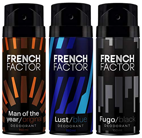 The French Factor Man of the year, Lust Blue & Fugo Black Deodorant Body Spray For Men, Combo (150ml, Pack of 3)