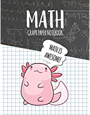 Math Graph Paper Notebook: Blank Graph Note Book Pages - Axolotl Black Chalkboard