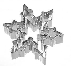 Keksausstecher Schneeflocke, Eiskristall 3-tlg Edelstahl