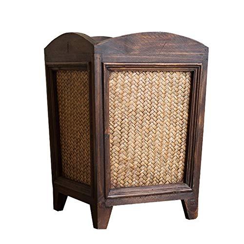 Trash Can, Retro Holz Trash Can, handgemachte Bambus Brick Trash Can, Wohnzimmer Schlafzimmer Trash Can, Rattan