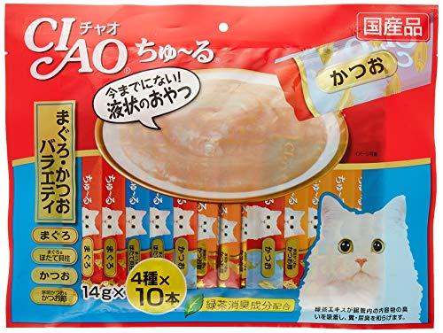 チャオ(CIAO)猫用おやつちゅ~るまぐろ・かつおバラエティ14g×40本入