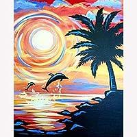 DIY 数字油絵、数字油絵 フレーム付き、キット ために 大人、初心者、子供、学生、3つのペイントブラシと1つのセットのアクリル顔料を使用したキャンバス上の塗り絵 太陽とイルカ-40x50cm